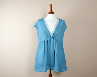 Blue chiffon blouse, vintage inspired tunic top, womens blouse, blue shirt, chiffon top, chiffon tunic,blue tunic,chiffon tunic