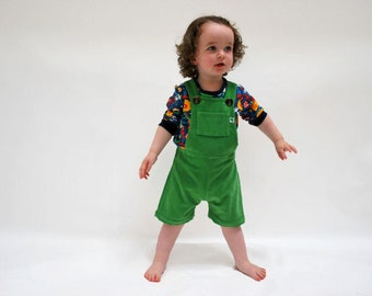 Kids overall shorts green cotton corduroy outfit bright apple green short all in one babies summer spring childrens comfy funky play clothes