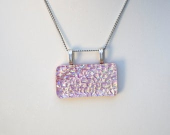Necklace Pendant Fused Glass Necklace OOAK Dichroic Fused Glass Jewelry