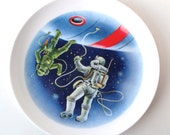 Astronaut Spaceship Collector Plate, NASA, Spaceman, Alien, Outer Space, Satellite, 1980s