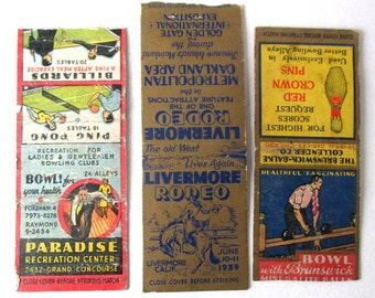 3 Antique Matchbooks, 1930s, 1940s, Bowling, Billiards, Rodeo, Ping Pong, Great Graphic Design, Livermore, CA, 1939