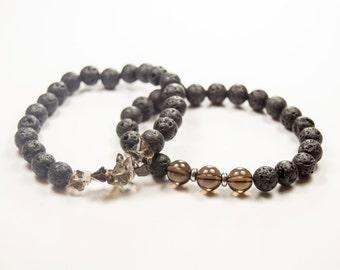 Grounding - Cancer - Negativity - Creativity - Nightmares - Smoky Quartz - Essential Oil diffuser bracelet