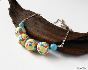 Confetti Bead Necklace, Polymer Clay Jewelry, Blue Bead Necklace, Silver Chain Necklace, Colorful Bead Necklace, Chunky Bead Necklace