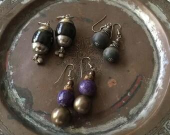 Vintage 1980's Drop Earrings, Set of 3, Bohemian, Hippie, Gypsy, Tribal