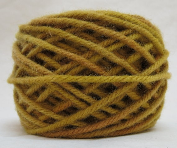 BRASS, 100% Wool, 2 ozs. 43 yards, 4-Ply, Bulky or 3 ply worsted weight yarn, already wound into cakes, ready to use, made to order.