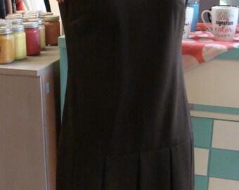 DARK BROWN DROPWAIST 60's 70's dress mod S