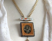 Assemblage Ambrotype Necklace, Victorian photography, Memento Mori, Daguerreotype, tintype, Antique, Vintage, Early photography