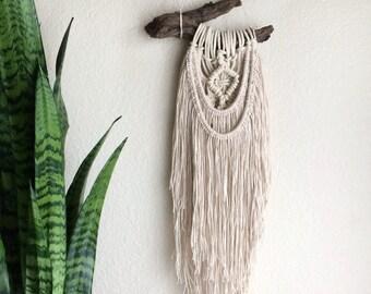 Boho Macrame Wall Hanging / Rutic Earthy Tapestry / Hippie Bohemian Tree Branch Hanging, OOAK