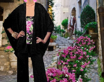 Cape Jacket Pant Set Made To Measurement Matte Jersey Many Fabrics To Choose From