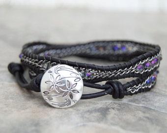 FREE SHIPPING Double Wrap Bracelet Natural Black Leather Curb Chain Bracelet Rondelle Beads Sparkles
