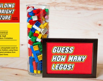 "INSTANT ""Guess The Number"" Sign - LEGO Inspired Teacher Appreciation and Birthday Printables"