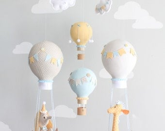 Hot Air Balloon Baby Mobile, Giraffe and Elephant Nursery Decor, Travel Theme Nursery, Orange, Aqua, Gray-Griege Nursery, i167