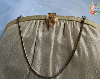 Gold Fabric Evening Bag Purse Small Formal Dress Clutch Wedding Formal Prom