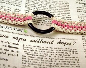 Glow in the Dark Pink Hemp Bondage Collar, Submissive Collar, Submissive Necklace, Submissive Choker, Slave Choker, Bondage Necklace