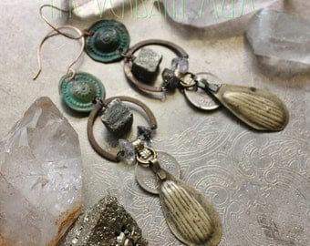 VERDIGRIS Herkimer, Pyrite, and Aged Brass Earrings- Tribal Fusion Alchemy Earring Collection