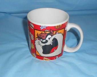 "Tasmanian Devil TAZ Mug Warner Bros Cartoon 1994 3.5"" Height x 3"" Across Rim"