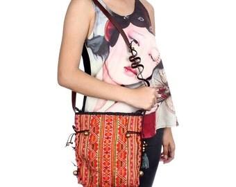 Vintage Fabric Cross Body Bag Adjustable Leather Strap Fair Trade (BG003SL.2)