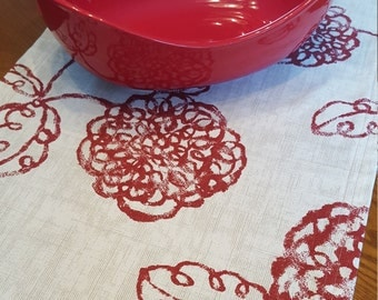 Red Floral Table Runner, Modern Red Table Runner
