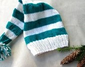 Adult Stocking Cap, White and Green Striped Elf Hat, Knitted Winter Hat, Knit Long Tail Christmas Hat, Teal and White Pom Pom Hat