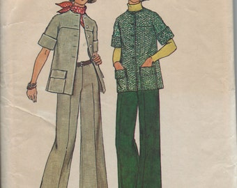 Vintage 1970s Womens Suit Pattern, Retro Unlined Jacket, Bell Bottom Pants, Elbow Length Sleeves, Size 12, Bust 34 Inches