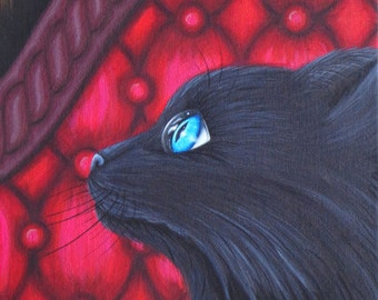 8x10 Print Gothic Fantasy Lowbrow Cat Kitten Big Blue Eye Antique Chaise Button Sofa Couch Reproduction by Natalie VonRaven