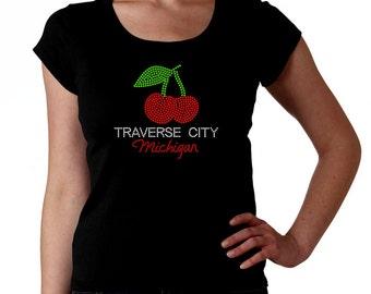 Traverse City Michigan RHINESTONE T-Shirt or tank top S M L XL 2XL - Bling Grand Up North Cherry Cherries shirt tc