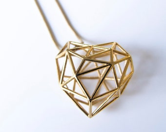 Gold 3D Printed Heart Necklace