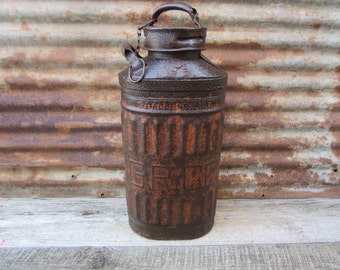 Large Antique Metal Fuel Can Gulf Refining Co. ElliSCO Industrial Metal Green Rusty Rusted Automobile Gas Station Service Station Man Cave