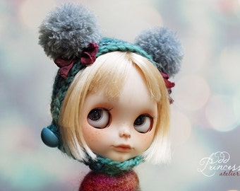 Blythe Helmet SWEET BEAR Blue By Odd Princess Atelier, Hand Knitted Collection