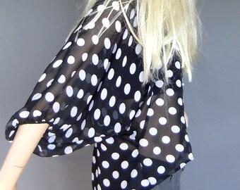 sheer polka dot blouse, hi lo blouse, 80s blouse, polka dot shirt