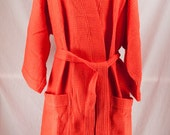 Personalized  Spa Robe Waffle Weave Kimono Red Monogrammed