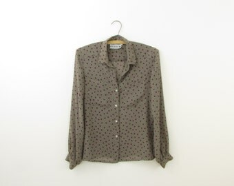 Mini Polka Dot Blouse - Vintage 1980s Chiffon Top in Taupe and Plum Size Small by Rino Rossi