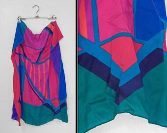 Silk POLYGONS Scarf Geometric Liz Claiborne 30 x 30 Cobalt Teal Pink