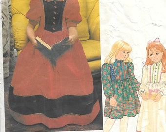 Vintage 1980's Little Vogue 2845 Girl's Dress Special Occasion Dress, Long Or Short Puff Sleeves, & Collar Variations, Size 6X, UNCUT