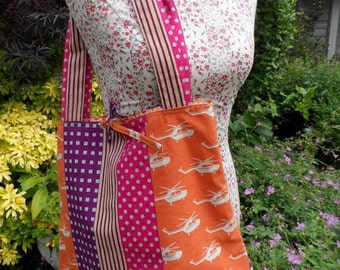 Shoulder Bag in a vibrant, striped and  helicopter motifs linen. FREE UK P&P. Fully lined, long handles and an inside pocket.