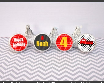 Firetruck Chocolate Kiss Stickers - Firetruck Stickers - Red Firetruck Candy Kiss Stickers - Firetruck Favor Stickers - Digital or Shipped