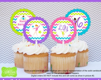 Gymnastics Cupcake Toppers - Gymnastics Party Circles - Gymnastic Toppers - Tumbling Cupcake Toppers - Digtal & Printed Availale