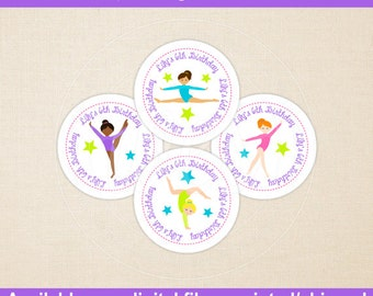 Gymnastics Birthday Stickers - Gymnastics Thank You Stickers - Gymnastics Favor Stickers - Digital or Printed