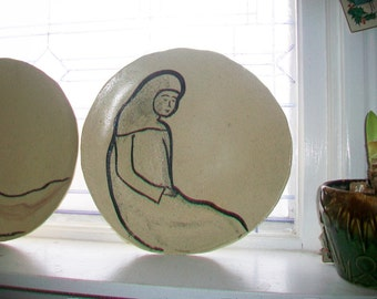 Vintage Handmade Modern Art Large Plate 1950s Artist Signed