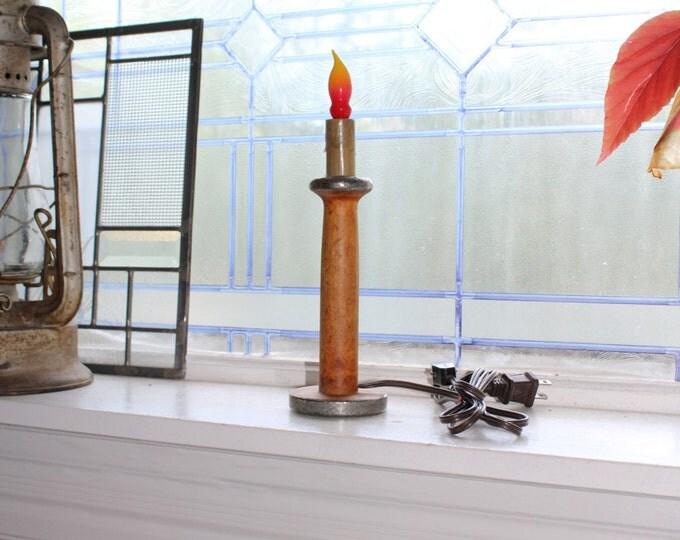 Vintage Wooden Bobbin Candlestick Lamp Farmhouse Decor