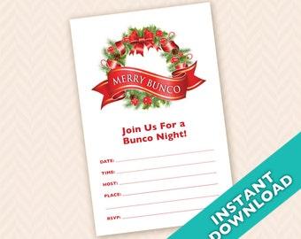 Downloadable Christmas Bunco Invitation