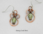 Green paper bead earrings, copper wire design