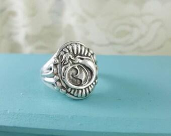 Mermaid Ring in sterling silver, silver mermaid ring, mermaid biker ring, gold mermaid ring, mermaid ring silver, mermaid statement ring