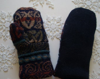 SALE!! Multi Striped Navy Felted Wool Sweater Mitten