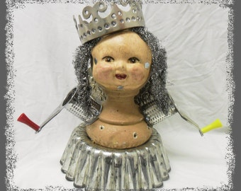 Creepy Spooky Assemblage, Repurposed Art Doll, Found Objects