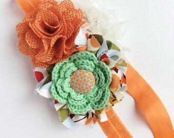 orange green autumn headband baby girl headband little girl headband toddler headband fancy headband