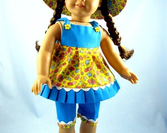 Doll Clothes American Girl - 18 Inch Doll Clothes - Three-Piece Summer Play Outfit - Yellow Floral and Turquoise