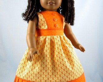 Doll Dress - American Girl - Doll Clothes 18 Inch  - Sundress and Hair bow - Yellow Fleur De Lis