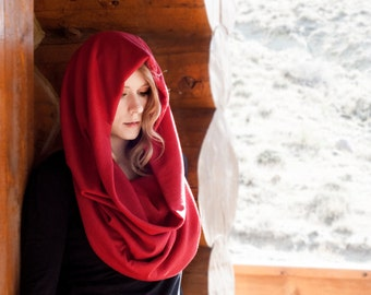 Hooded Scarf Infinity Cowl, Red VERSI Oversized Valentines Boho Shawl Wrap, Wife Girlfriend Gift, Extra Large Womens Nomad, Oversize Winter