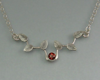 Garnet vine necklace - sterling silver leaves necklace - woodland necklace - elven jewelry - January birthstone - nature inspired necklace